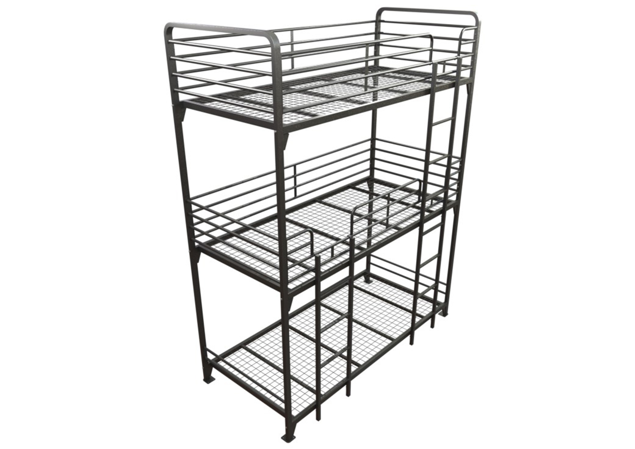 Image of a triple bunk bed. Bunk beds are available in triple or double.