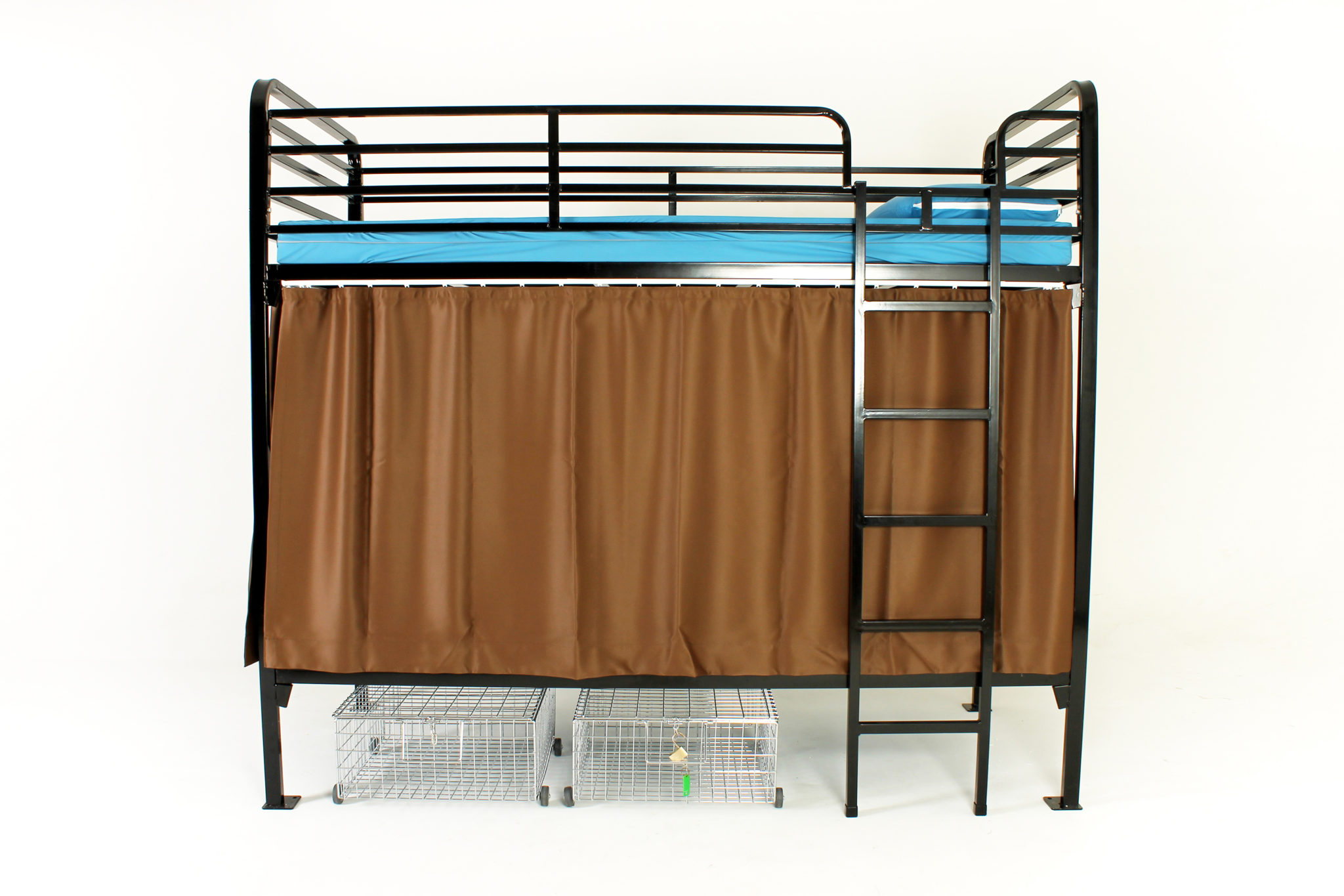 Contract bunk beds full set with privacy curtains and under bed storage lockers.