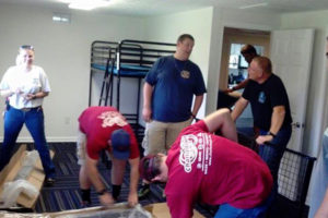 San Francisco fire department assembling the Dallas D2 camp bunk bed