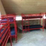 Red Single over Single Bunk Beds (Metal, Commercial Strength)