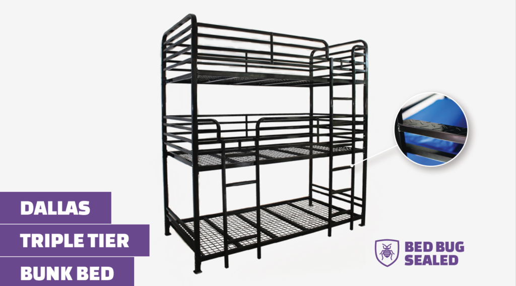 Heavy Duty Triple Bunk Bed for 3 Adults
